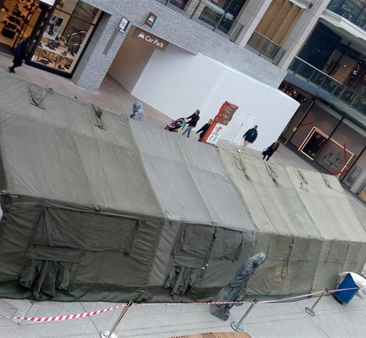 21x48ft Army tent, in shopping centre!