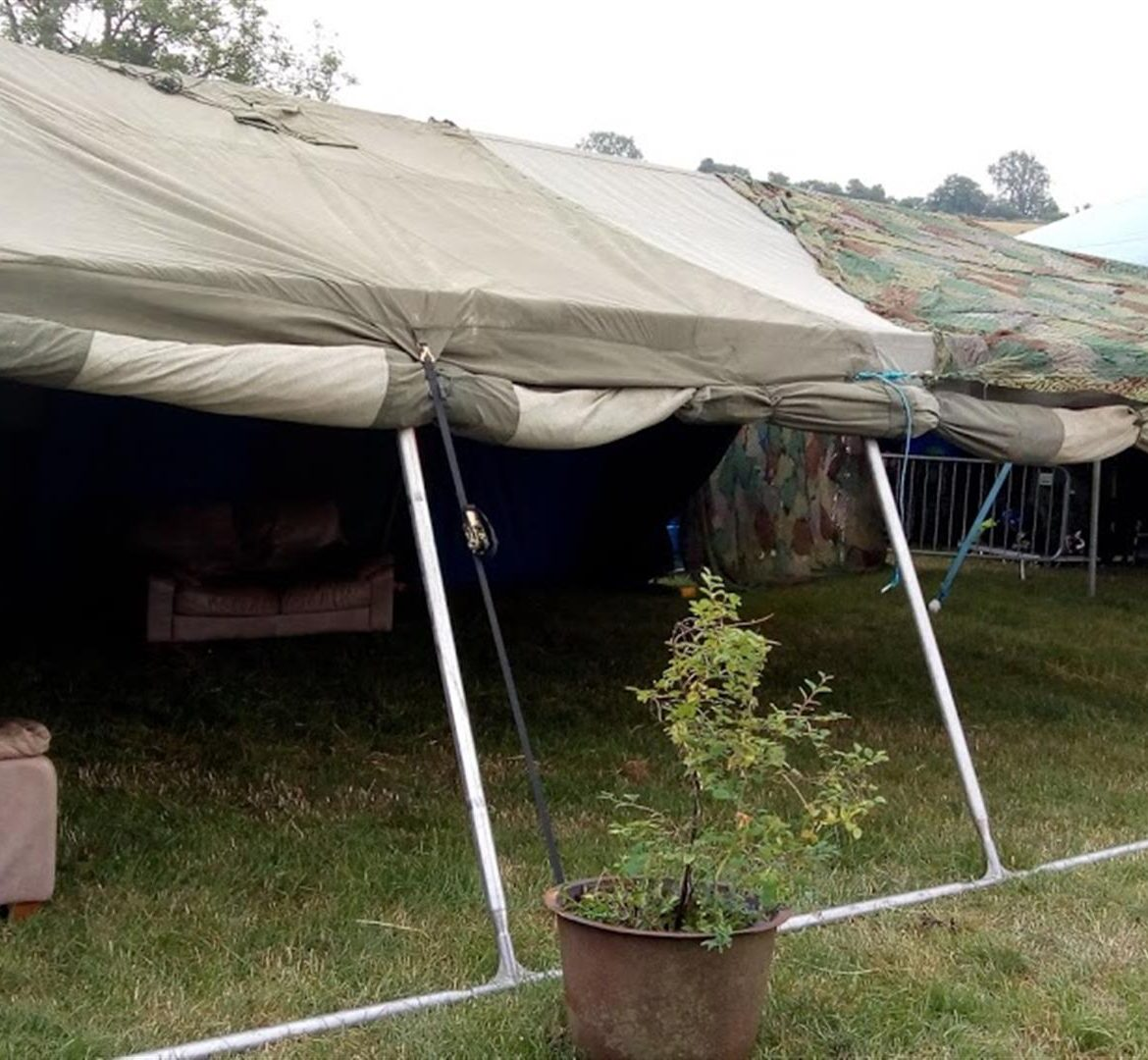 21x24ft Army tent, side rolled up, Beatherder Festival
