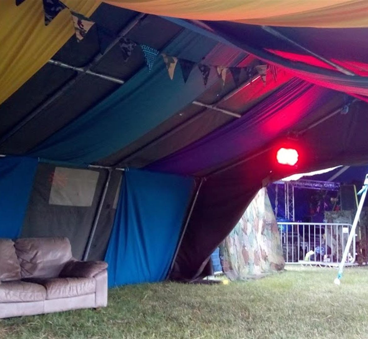 Army tent with drapes, Beatherder Festival