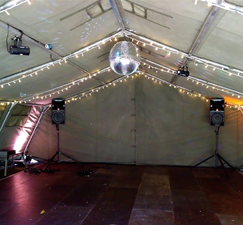 21x24ft Army tent, plywood dancefloor