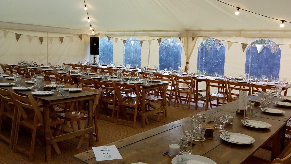 30x30ft Modular frame tent, flat ivory lining, festoon lighting