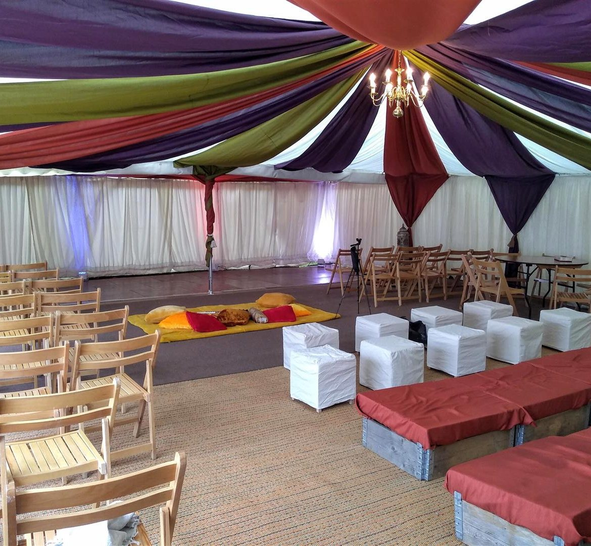 Pleated lining with coloured drapes,30x40ft Modular frame tent