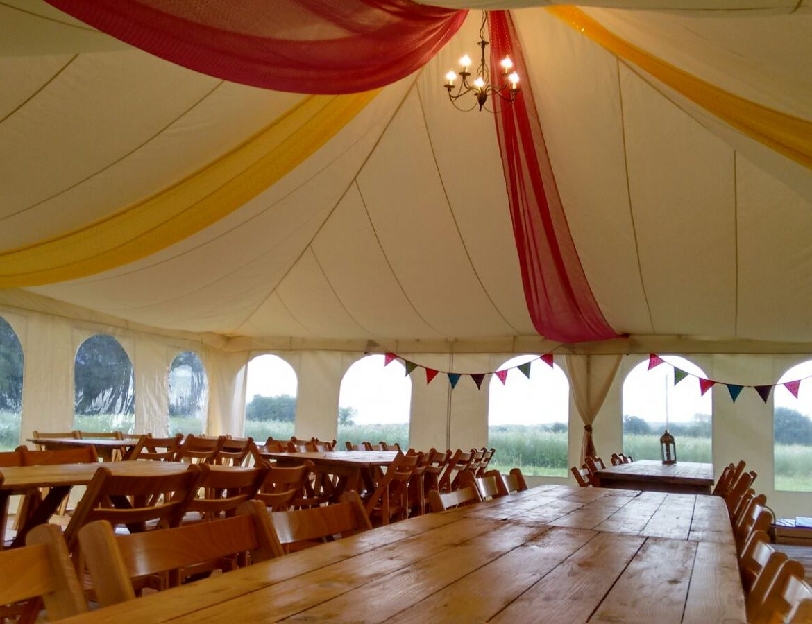 30x30ft Modular frame tent, flat ivory lining and coloured drapes