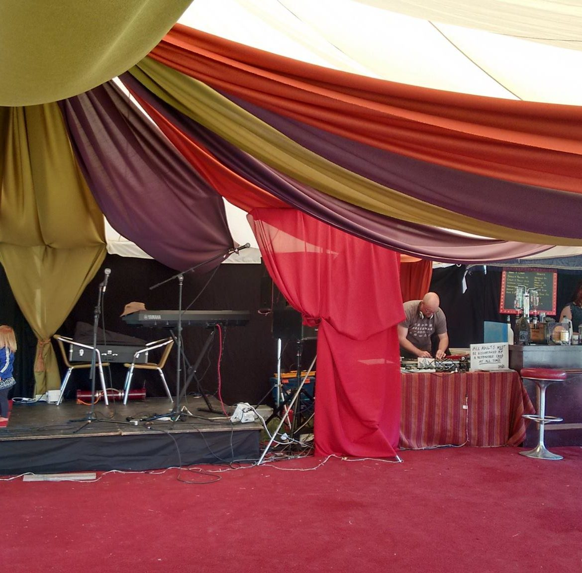 30x45' modular frame tent with Moroccan style drapes