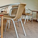 bistro chairs and teeny tables for hire