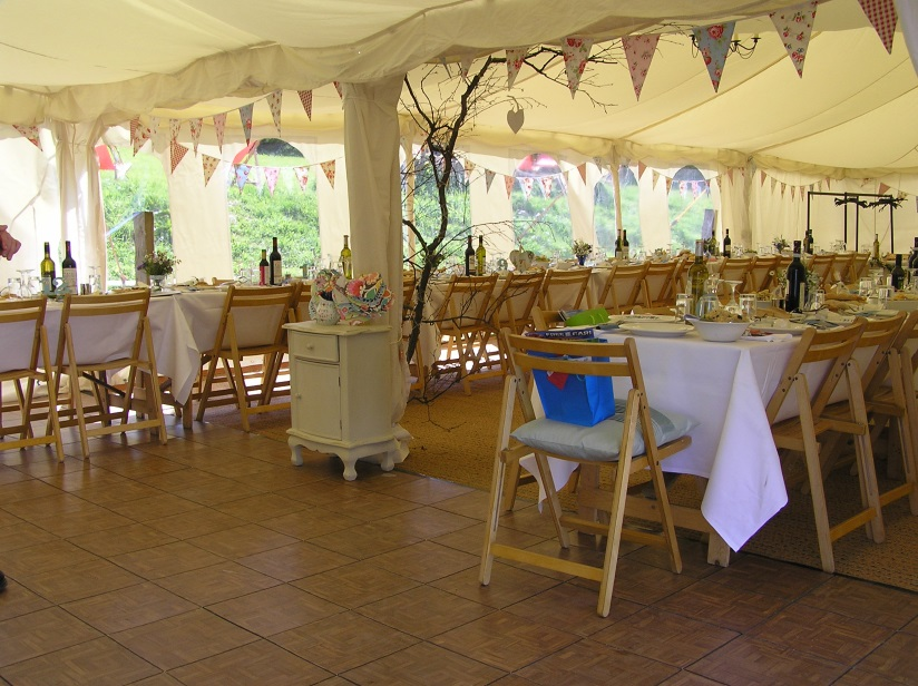 Flat Ivory lining with vintage bunting, 20x60ft Modular frame tent